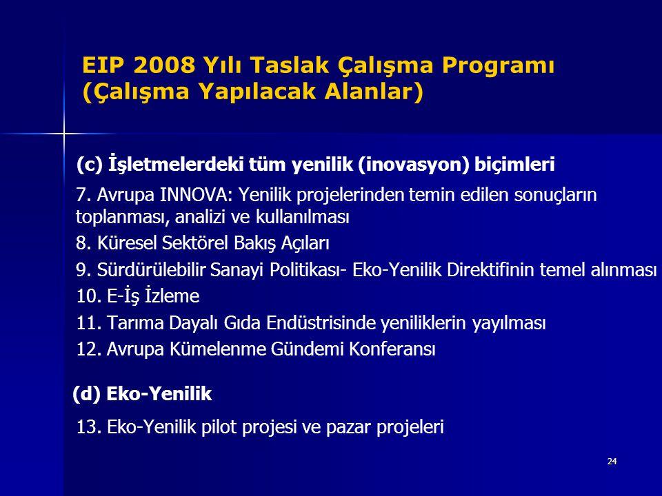 24 EIP 2008 Yılı Taslak Çalışma Programı (Çalışma Yapılacak Alanlar) (c) İşletmelerdeki tüm yenilik (inovasyon) biçimleri 7. Avrupa INNOVA: Yenilik pr