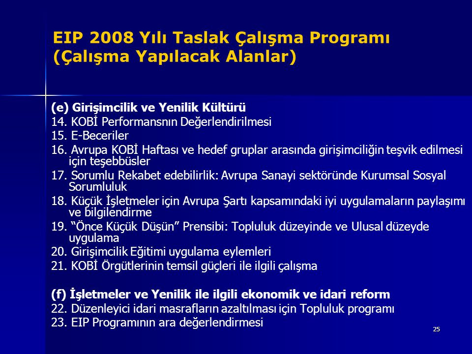 25 EIP 2008 Yılı Taslak Çalışma Programı (Çalışma Yapılacak Alanlar) (e) Girişimcilik ve Yenilik Kültürü 14. KOBİ Performansnın Değerlendirilmesi 15.