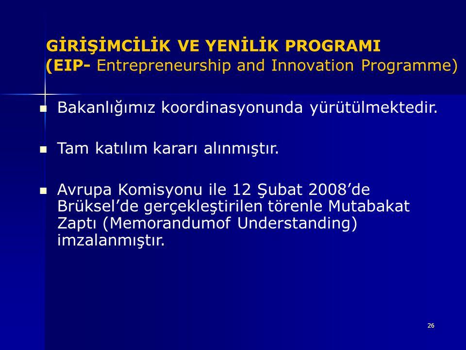 26 GİRİŞİMCİLİK VE YENİLİK PROGRAMI (EIP- Entrepreneurship and Innovation Programme) Bakanlığımız koordinasyonunda yürütülmektedir. Tam katılım kararı
