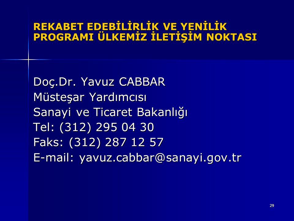 29 REKABET EDEBİLİRLİK VE YENİLİK PROGRAMI ÜLKEMİZ İLETİŞİM NOKTASI Doç.Dr. Yavuz CABBAR Müsteşar Yardımcısı Sanayi ve Ticaret Bakanlığı Tel: (312) 29