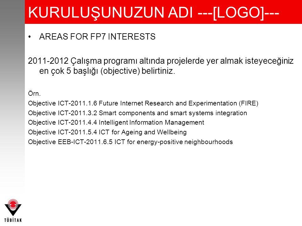 KURULUŞUNUZUN ADI ---[LOGO]--- AREAS FOR FP7 INTERESTS 2011-2012 Çalışma programı altında projelerde yer almak isteyeceğiniz en çok 5 başlığı (objective) belirtiniz.