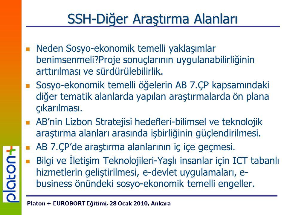 SSH-Diğer Araştırma Alanları Neden Sosyo-ekonomik temelli yaklaşımlar benimsenmeli Proje sonuçlarının uygulanabilirliğinin arttırılması ve sürdürülebilirlik.