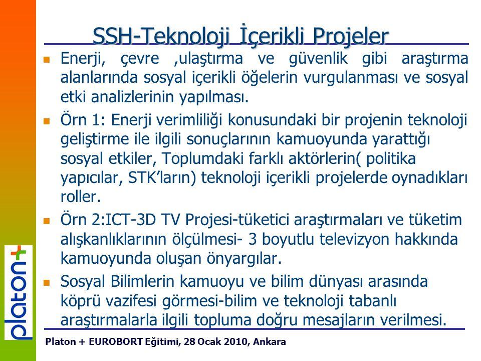 SSH-Teknoloji İçerikli Projeler Enerji, çevre,ulaştırma ve güvenlik gibi araştırma alanlarında sosyal içerikli öğelerin vurgulanması ve sosyal etki an