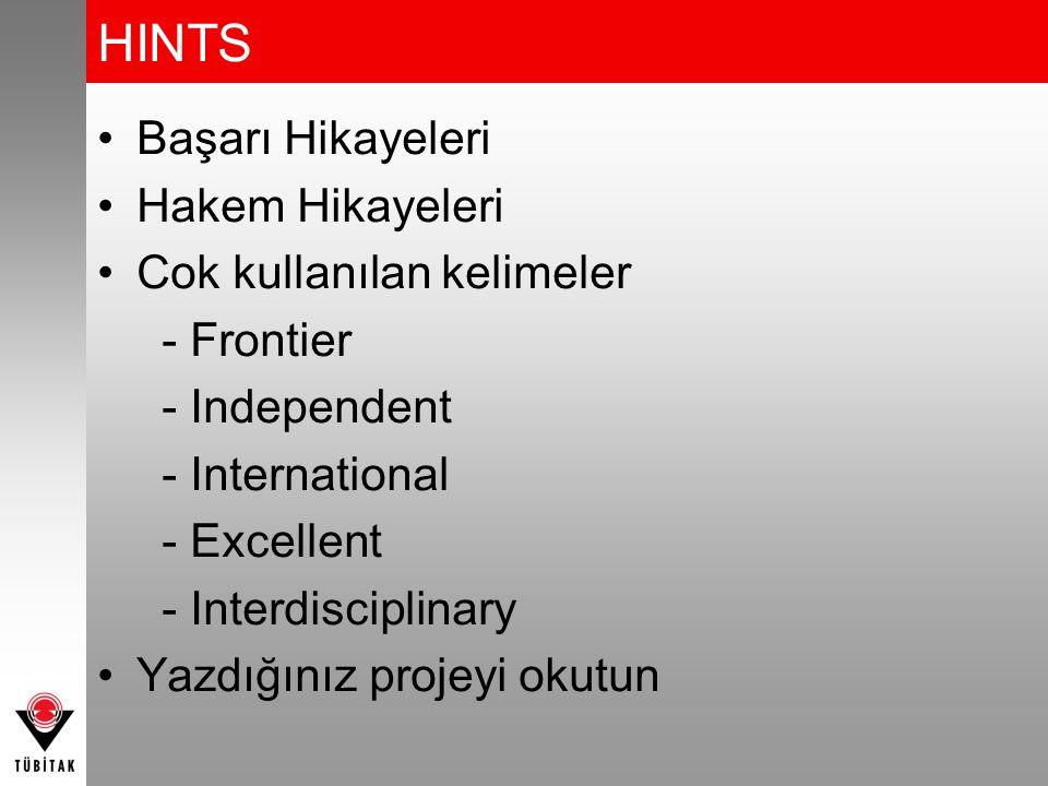 HINTS Başarı Hikayeleri Hakem Hikayeleri Cok kullanılan kelimeler - Frontier - Independent - International - Excellent - Interdisciplinary Yazdığınız projeyi okutun