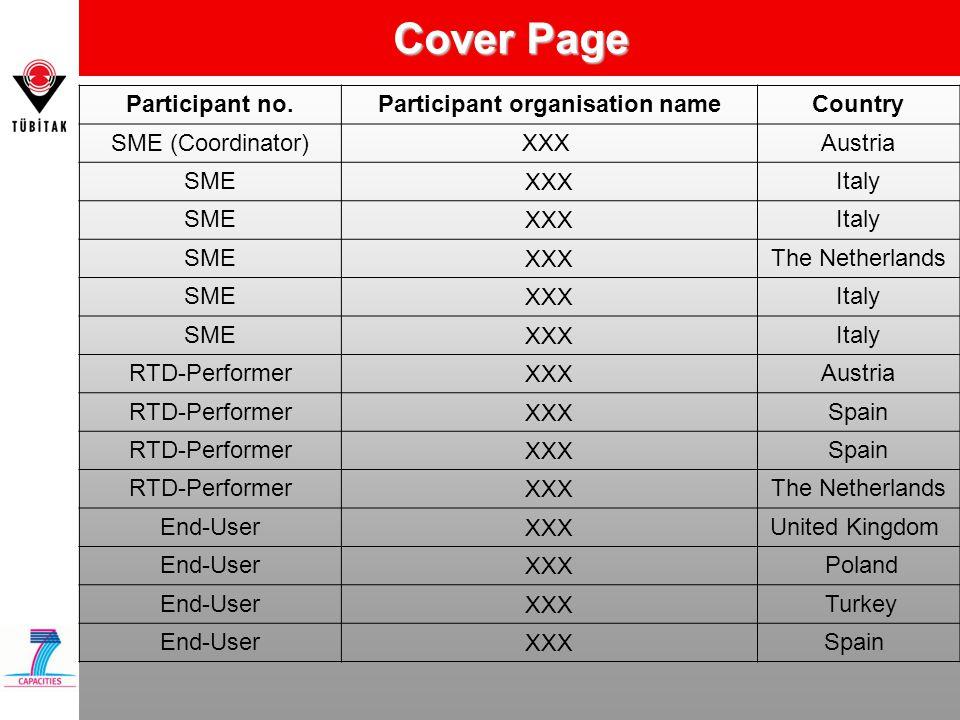 Cover Page Participant no.Participant organisation nameCountry SME (Coordinator)XXX Austria SMEXXXItaly SMEXXXItaly SME XXXThe Netherlands SME XXXItal