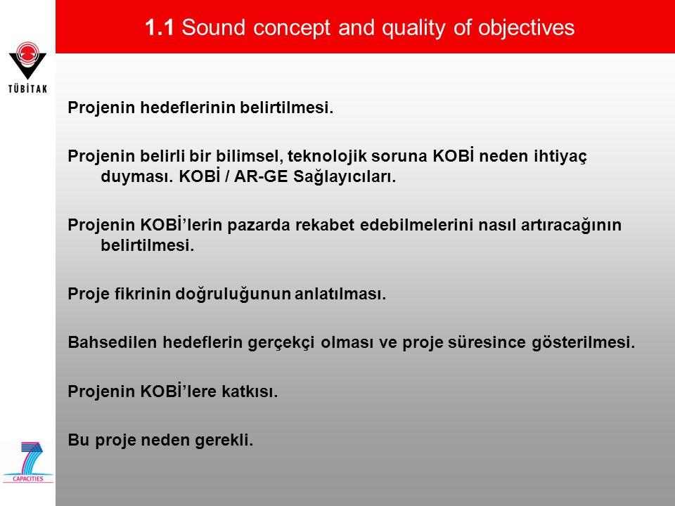 1.1 Sound concept and quality of objectives Projenin hedeflerinin belirtilmesi. Projenin belirli bir bilimsel, teknolojik soruna KOBİ neden ihtiyaç du