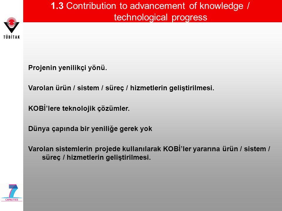 1.3 Contribution to advancement of knowledge / technological progress Projenin yenilikçi yönü. Varolan ürün / sistem / süreç / hizmetlerin geliştirilm