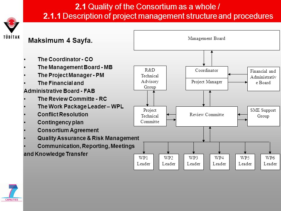 2.1 Quality of the Consortium as a whole / 2.1.1 Description of project management structure and procedures Maksimum 4 Sayfa.