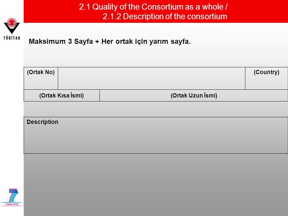 2.1 Quality of the Consortium as a whole / 2.1.2 Description of the consortium (Ortak No)(Country) (Ortak Kısa İsmi)(Ortak Uzun İsmi) Maksimum 3 Sayfa