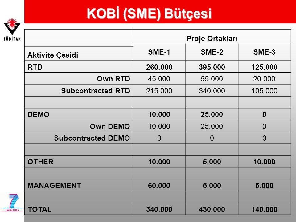 KOBİ (SME) Bütçesi Proje Ortakları SME-1SME-2SME-3 Aktivite Çeşidi RTD260.000395.000125.000 Own RTD45.00055.00020.000 Subcontracted RTD215.000340.0001