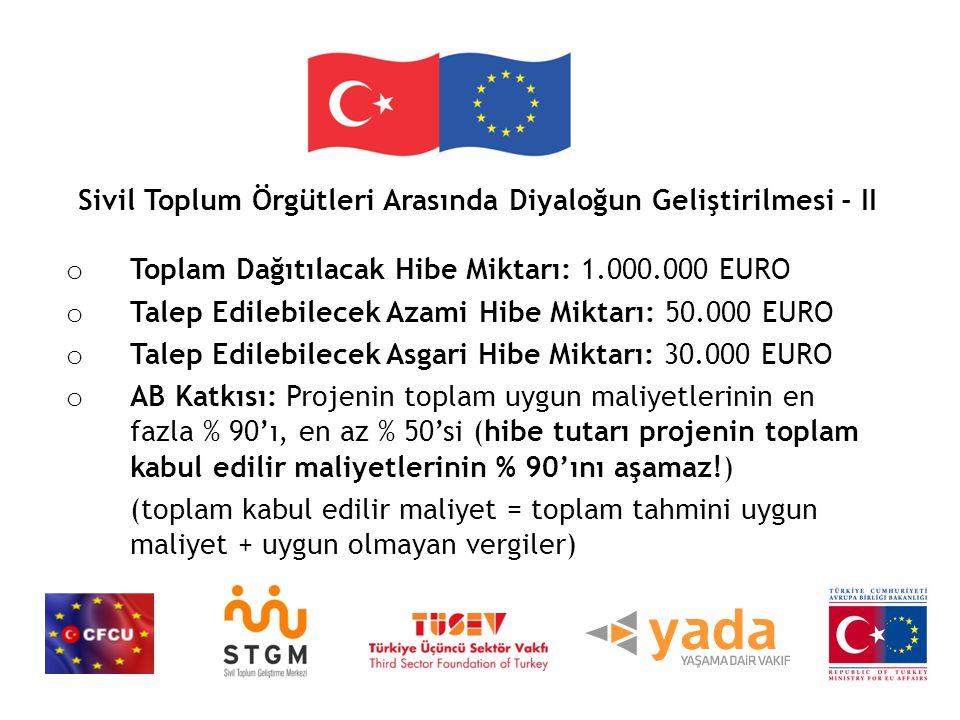 Sivil Toplum Örgütleri Arasında Diyaloğun Geliştirilmesi - II o Toplam Dağıtılacak Hibe Miktarı: 1.000.000 EURO o Talep Edilebilecek Azami Hibe Miktarı: 50.000 EURO o Talep Edilebilecek Asgari Hibe Miktarı: 30.000 EURO o AB Katkısı: Projenin toplam uygun maliyetlerinin en fazla % 90'ı, en az % 50'si (hibe tutarı projenin toplam kabul edilir maliyetlerinin % 90'ını aşamaz!) (toplam kabul edilir maliyet = toplam tahmini uygun maliyet + uygun olmayan vergiler)