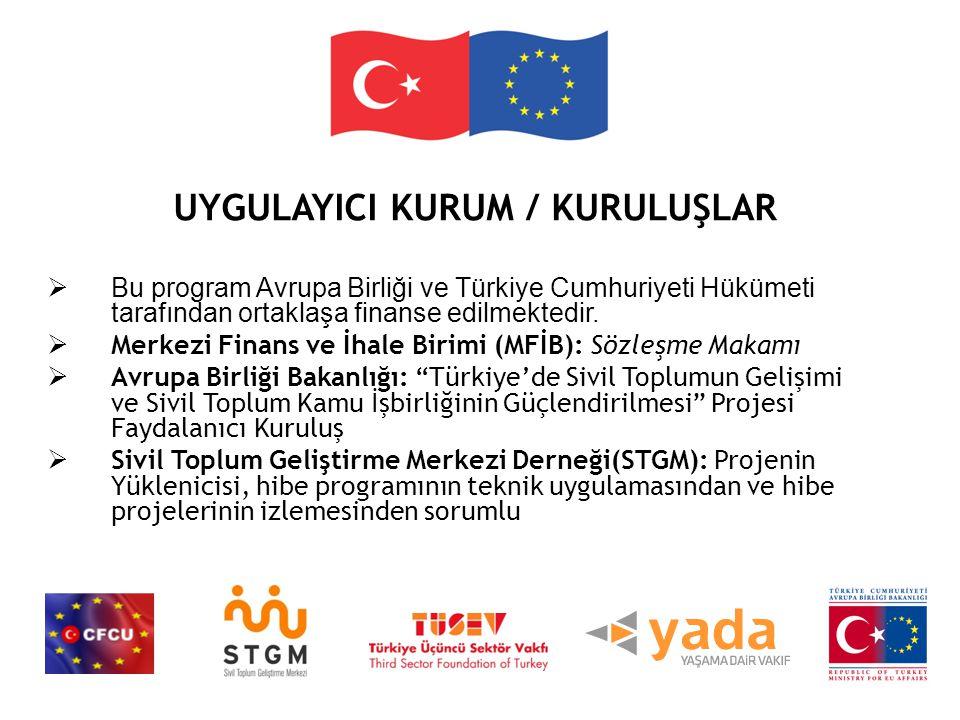 UYGULAYICI KURUM / KURULUŞLAR  Bu program Avrupa Birliği ve Türkiye Cumhuriyeti Hükümeti tarafından ortaklaşa finanse edilmektedir.