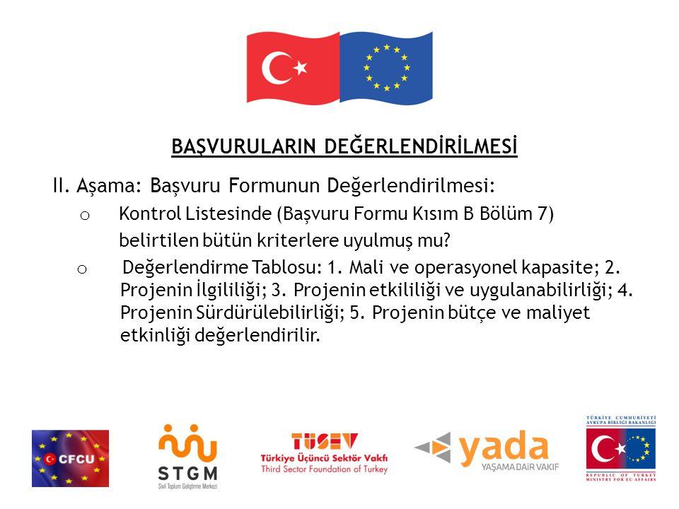 BAŞVURULARIN DEĞERLENDİRİLMESİ II.