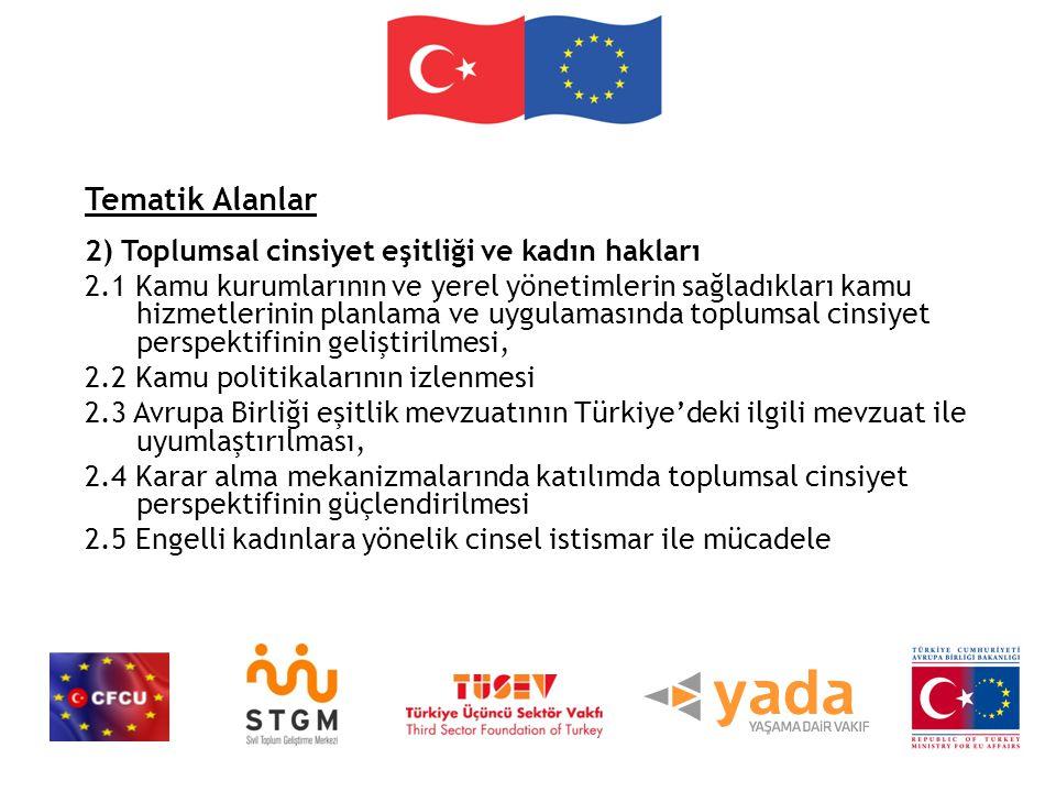 Tematik Alanlar 2) Toplumsal cinsiyet eşitliği ve kadın hakları 2.1 Kamu kurumlarının ve yerel yönetimlerin sağladıkları kamu hizmetlerinin planlama ve uygulamasında toplumsal cinsiyet perspektifinin geliştirilmesi, 2.2 Kamu politikalarının izlenmesi 2.3 Avrupa Birliği eşitlik mevzuatının Türkiye'deki ilgili mevzuat ile uyumlaştırılması, 2.4 Karar alma mekanizmalarında katılımda toplumsal cinsiyet perspektifinin güçlendirilmesi 2.5 Engelli kadınlara yönelik cinsel istismar ile mücadele