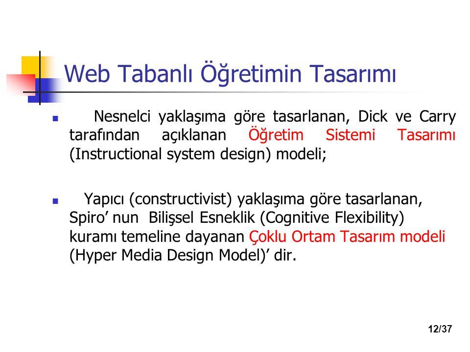 Web Tabanlı Öğretimin Tasarımı Nesnelci yaklaşıma göre tasarlanan, Dick ve Carry tarafından açıklanan Öğretim Sistemi Tasarımı (Instructional system design) modeli; Yapıcı (constructivist) yaklaşıma göre tasarlanan, Spiro' nun Bilişsel Esneklik (Cognitive Flexibility) kuramı temeline dayanan Çoklu Ortam Tasarım modeli (Hyper Media Design Model)' dir.