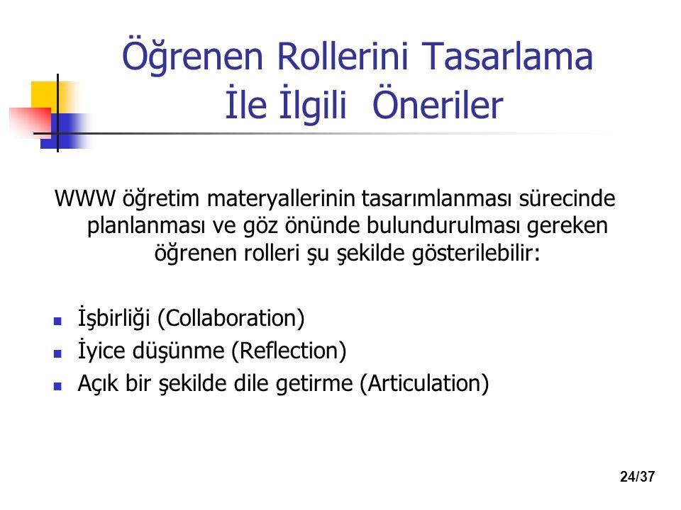 Öğrenen Rollerini Tasarlama İle İlgili Öneriler WWW öğretim materyallerinin tasarımlanması sürecinde planlanması ve göz önünde bulundurulması gereken öğrenen rolleri şu şekilde gösterilebilir: İşbirliği (Collaboration) İyice düşünme (Reflection) Açık bir şekilde dile getirme (Articulation) 24/37