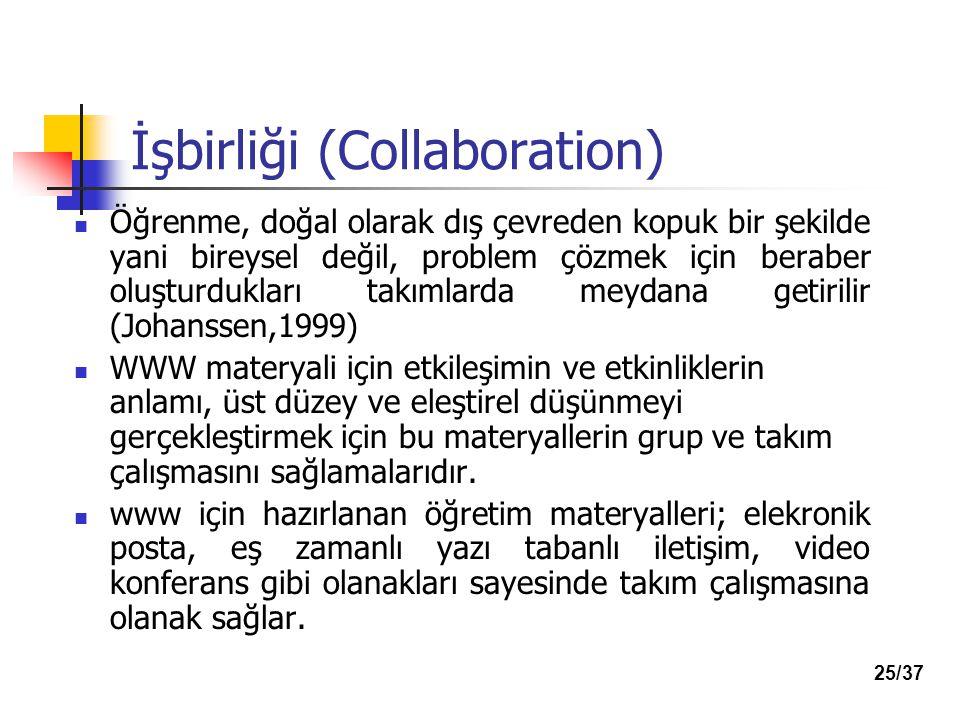 İşbirliği (Collaboration) Öğrenme, doğal olarak dış çevreden kopuk bir şekilde yani bireysel değil, problem çözmek için beraber oluşturdukları takımlarda meydana getirilir (Johanssen,1999) WWW materyali için etkileşimin ve etkinliklerin anlamı, üst düzey ve eleştirel düşünmeyi gerçekleştirmek için bu materyallerin grup ve takım çalışmasını sağlamalarıdır.