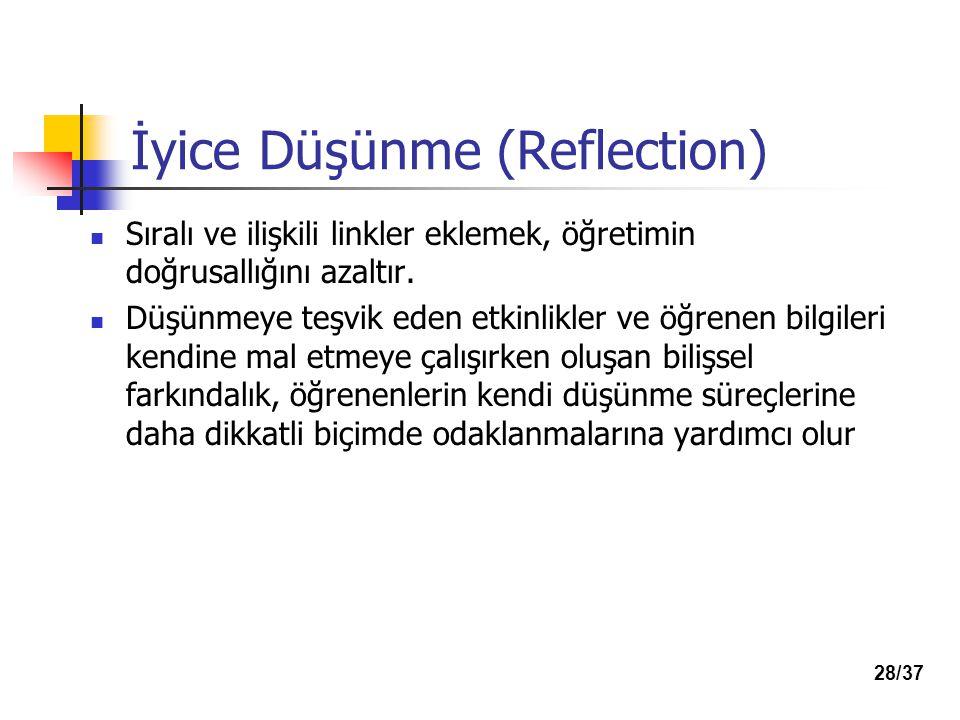 İyice Düşünme (Reflection) Sıralı ve ilişkili linkler eklemek, öğretimin doğrusallığını azaltır.