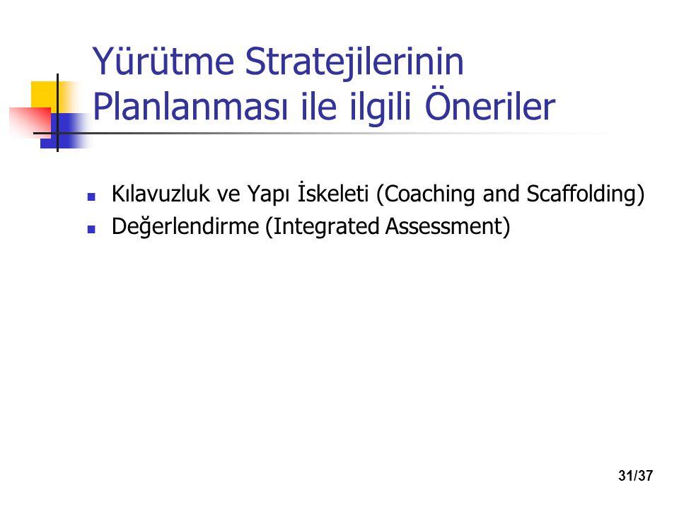 Yürütme Stratejilerinin Planlanması ile ilgili Öneriler Kılavuzluk ve Yapı İskeleti (Coaching and Scaffolding) Değerlendirme (Integrated Assessment) 31/37