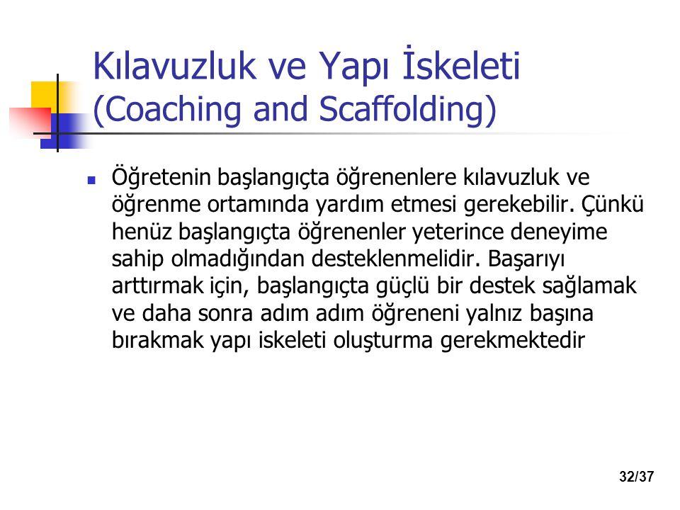 Kılavuzluk ve Yapı İskeleti (Coaching and Scaffolding) Öğretenin başlangıçta öğrenenlere kılavuzluk ve öğrenme ortamında yardım etmesi gerekebilir.