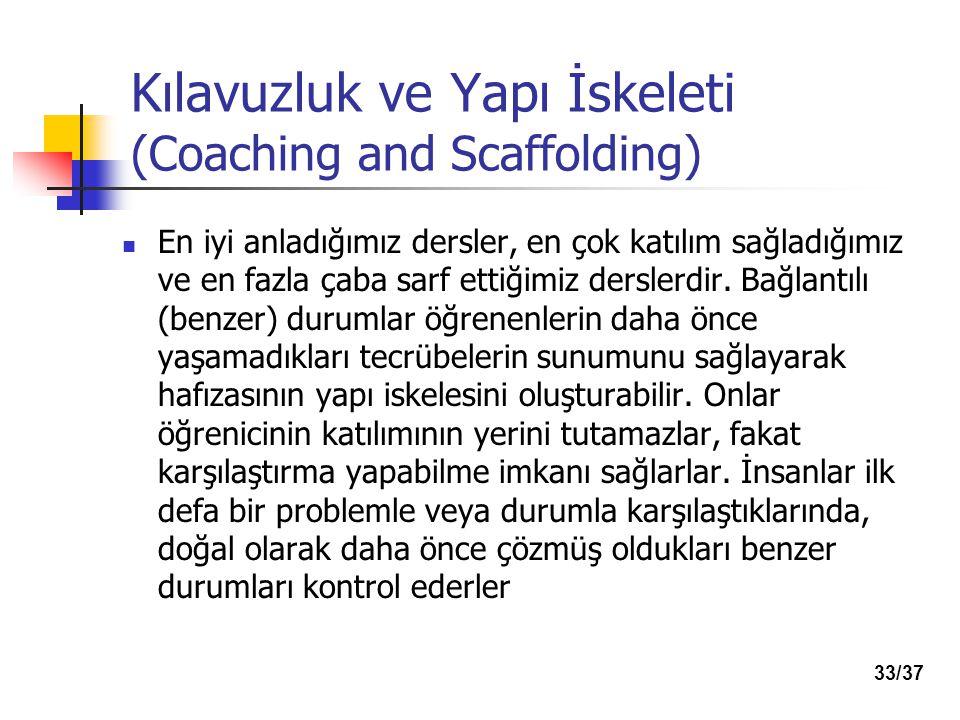 Kılavuzluk ve Yapı İskeleti (Coaching and Scaffolding) En iyi anladığımız dersler, en çok katılım sağladığımız ve en fazla çaba sarf ettiğimiz derslerdir.