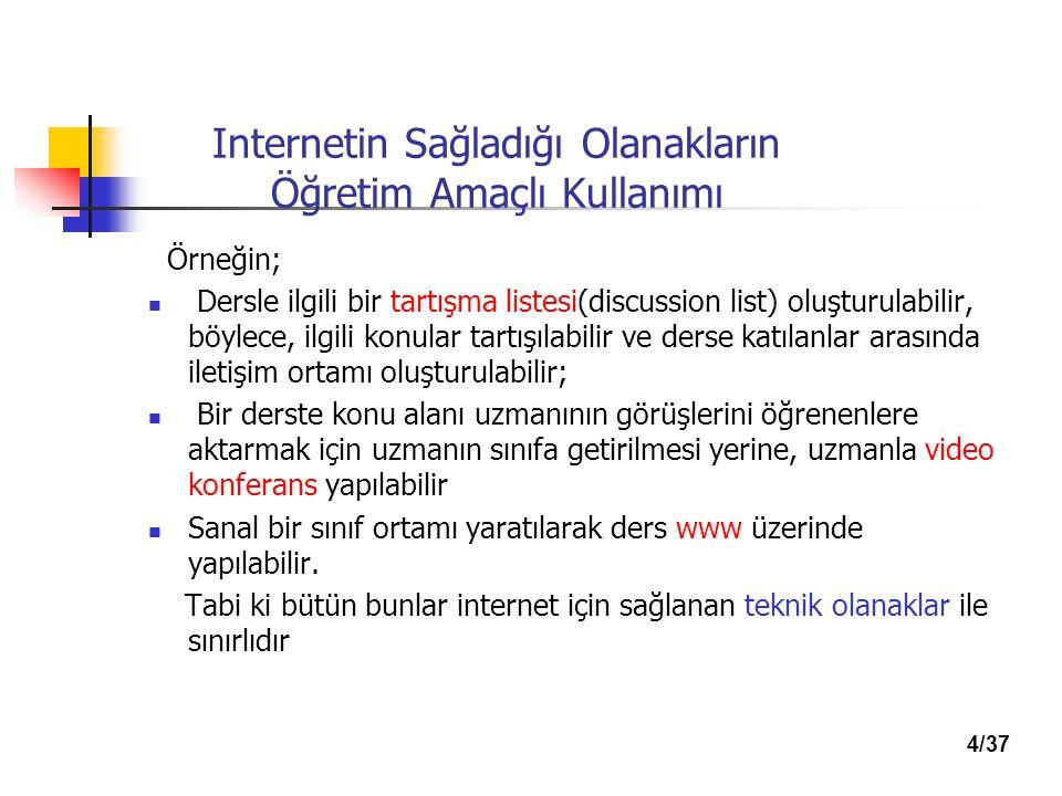 Internetin Sağladığı Olanakların Öğretim Amaçlı Kullanımı Örneğin; Dersle ilgili bir tartışma listesi(discussion list) oluşturulabilir, böylece, ilgili konular tartışılabilir ve derse katılanlar arasında iletişim ortamı oluşturulabilir; Bir derste konu alanı uzmanının görüşlerini öğrenenlere aktarmak için uzmanın sınıfa getirilmesi yerine, uzmanla video konferans yapılabilir Sanal bir sınıf ortamı yaratılarak ders www üzerinde yapılabilir.