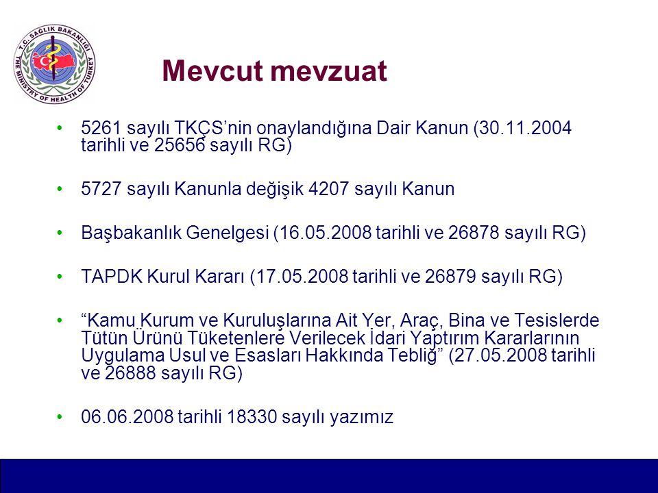 Mevcut mevzuat 5261 sayılı TKÇS'nin onaylandığına Dair Kanun (30.11.2004 tarihli ve 25656 sayılı RG) 5727 sayılı Kanunla değişik 4207 sayılı Kanun Başbakanlık Genelgesi (16.05.2008 tarihli ve 26878 sayılı RG) TAPDK Kurul Kararı (17.05.2008 tarihli ve 26879 sayılı RG) Kamu Kurum ve Kuruluşlarına Ait Yer, Araç, Bina ve Tesislerde Tütün Ürünü Tüketenlere Verilecek İdari Yaptırım Kararlarının Uygulama Usul ve Esasları Hakkında Tebliğ (27.05.2008 tarihli ve 26888 sayılı RG) 06.06.2008 tarihli 18330 sayılı yazımız