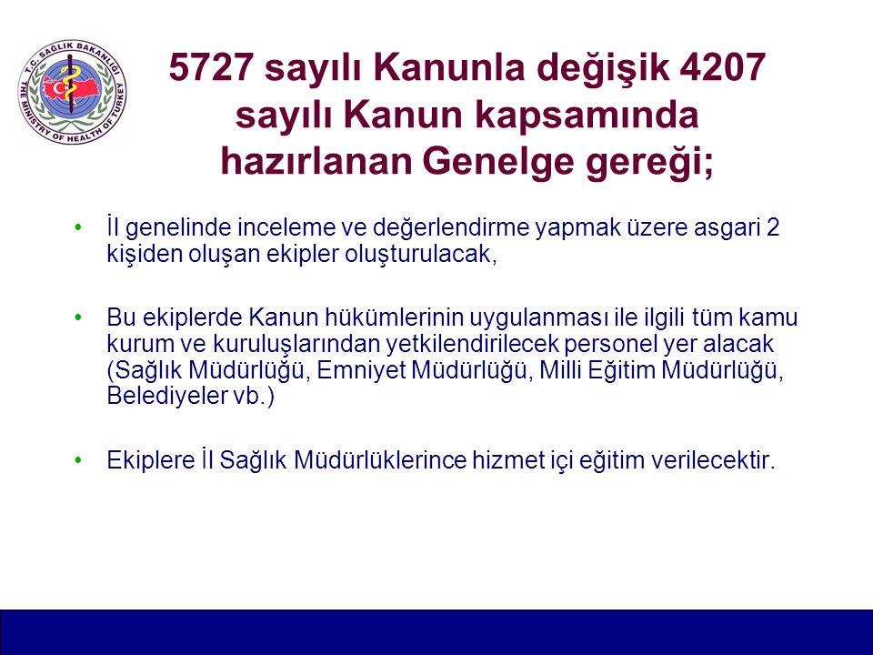 5727 sayılı Kanunla değişik 4207 sayılı Kanun kapsamında hazırlanan Genelge gereği; İl genelinde inceleme ve değerlendirme yapmak üzere asgari 2 kişiden oluşan ekipler oluşturulacak, Bu ekiplerde Kanun hükümlerinin uygulanması ile ilgili tüm kamu kurum ve kuruluşlarından yetkilendirilecek personel yer alacak (Sağlık Müdürlüğü, Emniyet Müdürlüğü, Milli Eğitim Müdürlüğü, Belediyeler vb.) Ekiplere İl Sağlık Müdürlüklerince hizmet içi eğitim verilecektir.