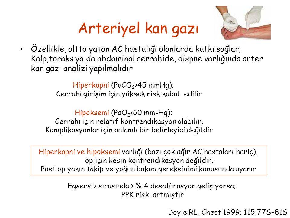 Arteriyel kan gazı Özellikle, altta yatan AC hastalığı olanlarda katkı sağlar; Kalp,toraks ya da abdominal cerrahide, dispne varlığında arter kan gazı analizi yapılmalıdır Doyle RL.