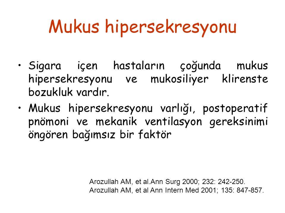 Mukus hipersekresyonu Sigara içen hastaların çoğunda mukus hipersekresyonu ve mukosiliyer klirenste bozukluk vardır. Mukus hipersekresyonu varlığı, po