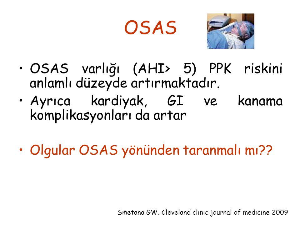 OSAS OSAS varlığı (AHI> 5) PPK riskini anlamlı düzeyde artırmaktadır. Ayrıca kardiyak, GI ve kanama komplikasyonları da artar Olgular OSAS yönünden ta