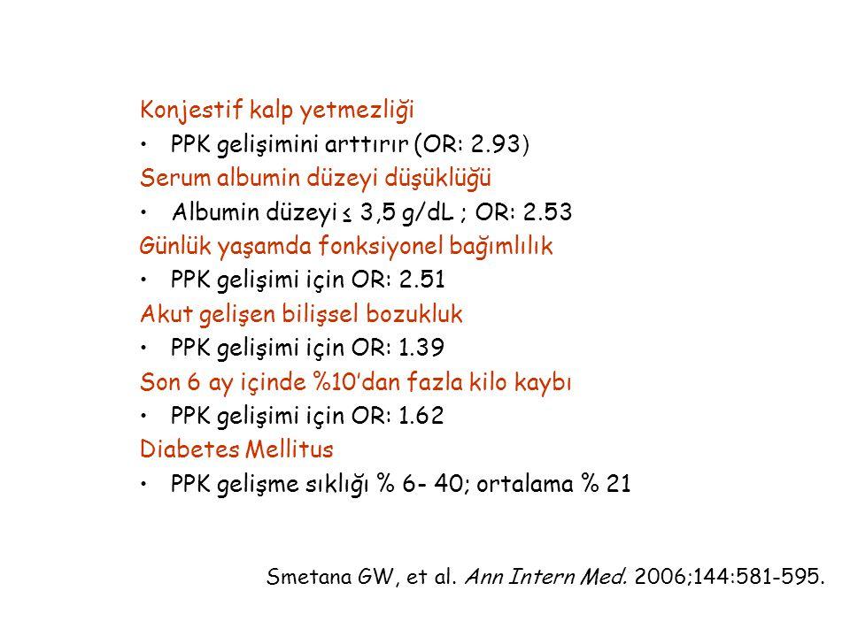 Konjestif kalp yetmezliği PPK gelişimini arttırır (OR: 2.93 ) Serum albumin düzeyi düşüklüğü Albumin düzeyi ≤ 3,5 g/dL ; OR: 2.53 Günlük yaşamda fonksiyonel bağımlılık PPK gelişimi için OR: 2.51 Akut gelişen bilişsel bozukluk PPK gelişimi için OR: 1.39 Son 6 ay içinde %10'dan fazla kilo kaybı PPK gelişimi için OR: 1.62 Diabetes Mellitus PPK gelişme sıklığı % 6- 40; ortalama % 21 Smetana GW, et al.
