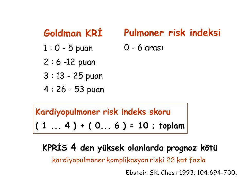 Goldman KRİ 1 : 0 - 5 puan 2 : 6 -12 puan 3 : 13 - 25 puan 4 : 26 - 53 puan Pulmoner risk indeksi 0 - 6 arası Kardiyopulmoner risk indeks skoru ( 1...