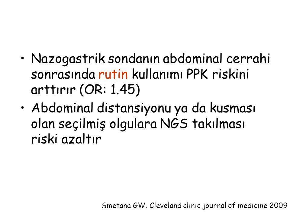 Nazogastrik sondanın abdominal cerrahi sonrasında rutin kullanımı PPK riskini arttırır (OR: 1.45) Abdominal distansiyonu ya da kusması olan seçilmiş olgulara NGS takılması riski azaltır Smetana GW.