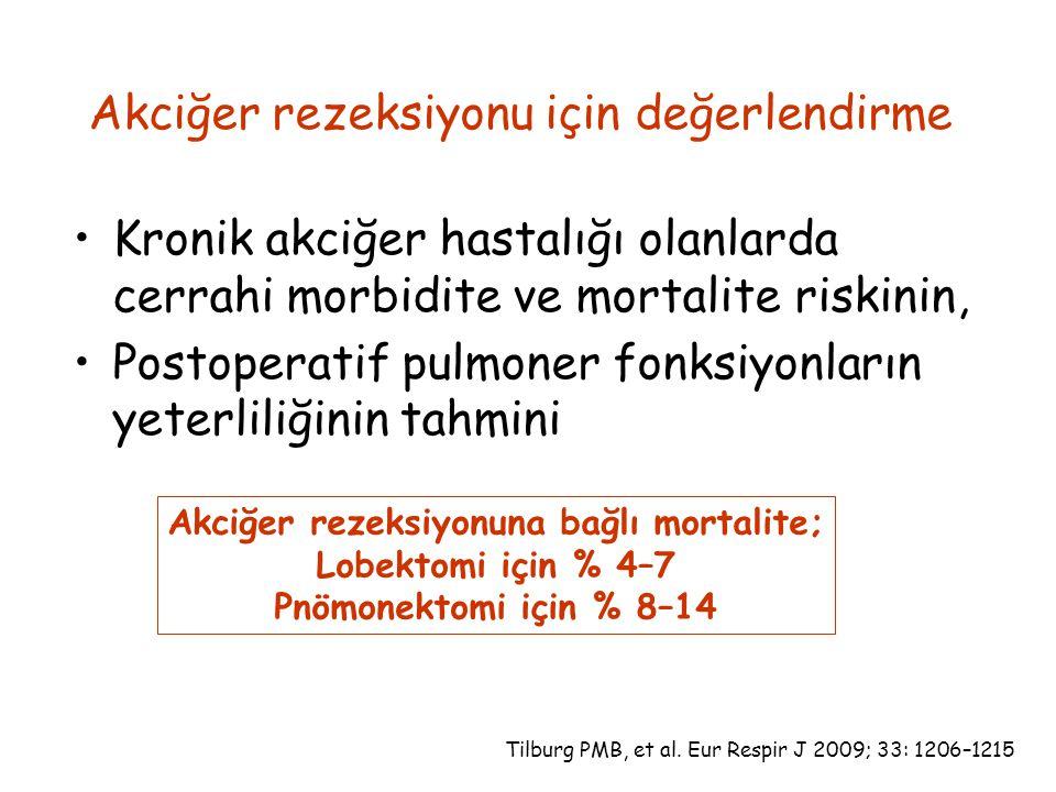 Akciğer rezeksiyonu için değerlendirme Kronik akciğer hastalığı olanlarda cerrahi morbidite ve mortalite riskinin, Postoperatif pulmoner fonksiyonların yeterliliğinin tahmini Akciğer rezeksiyonuna bağlı mortalite; Lobektomi için % 4–7 Pnömonektomi için % 8–14 Tilburg PMB, et al.