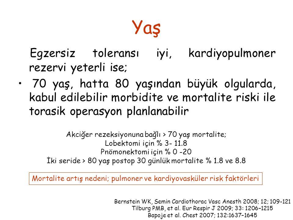 Yaş Egzersiz toleransı iyi, kardiyopulmoner rezervi yeterli ise; 70 yaş, hatta 80 yaşından büyük olgularda, kabul edilebilir morbidite ve mortalite riski ile torasik operasyon planlanabilir Bernstein WK, Semin Cardiothorac Vasc Anesth 2008; 12; 109-121 Tilburg PMB, et al.