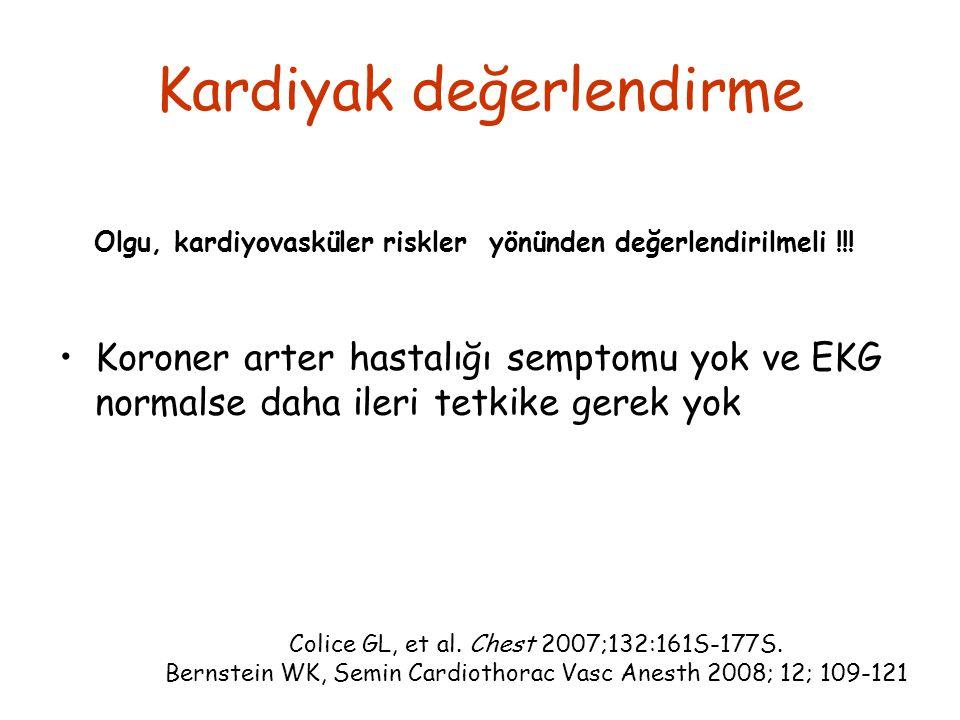 Kardiyak değerlendirme Koroner arter hastalığı semptomu yok ve EKG normalse daha ileri tetkike gerek yok Colice GL, et al. Chest 2007;132:161S-177S. B