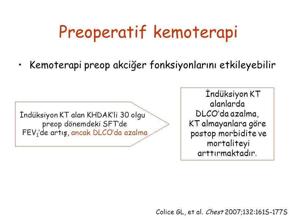 Preoperatif kemoterapi Kemoterapi preop akciğer fonksiyonlarını etkileyebilir İndüksiyon KT alanlarda DLCO'da azalma, KT almayanlara göre postop morbidite ve mortaliteyi arttırmaktadır.