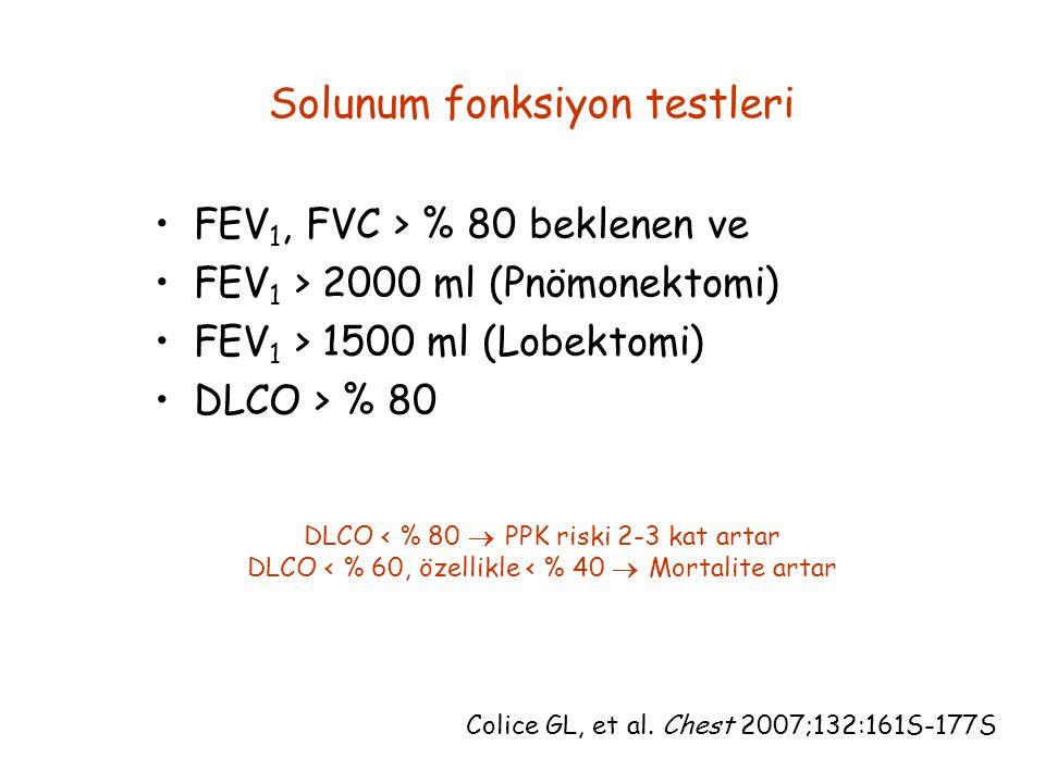 Solunum fonksiyon testleri FEV 1, FVC > % 80 beklenen ve FEV 1 > 2000 ml (Pnömonektomi) FEV 1 > 1500 ml (Lobektomi) DLCO > % 80 Colice GL, et al. Ches