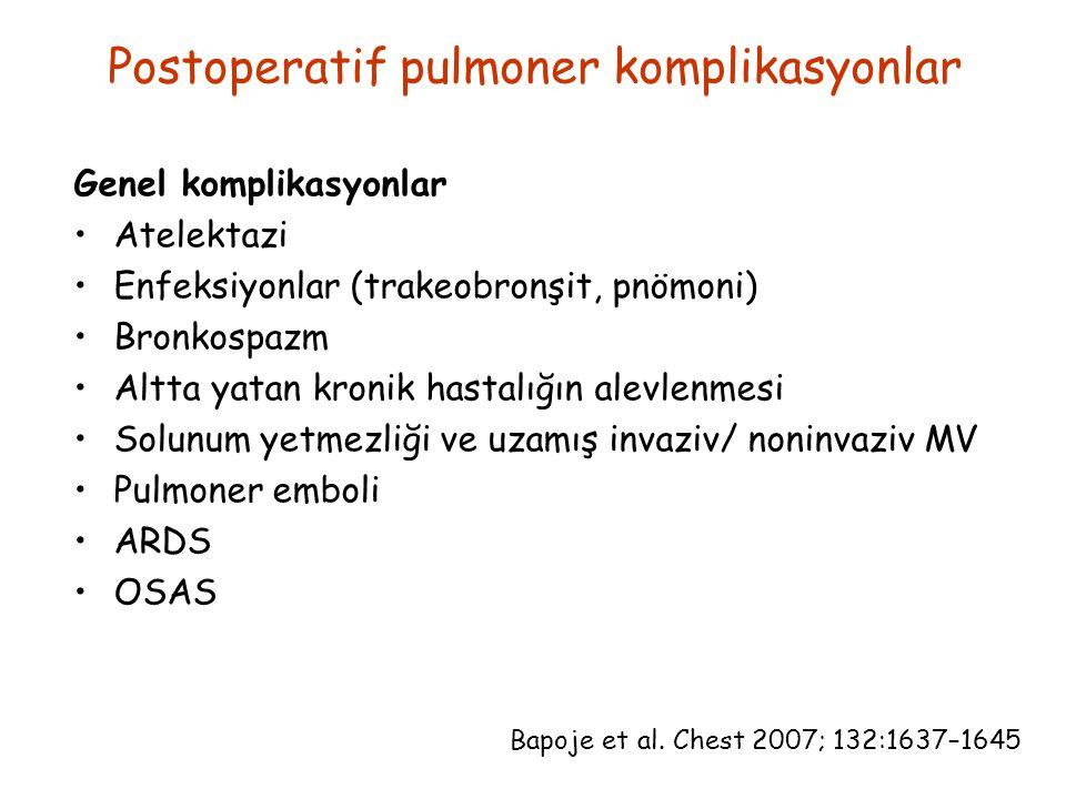 Postoperatif pulmoner komplikasyonlar Genel komplikasyonlar Atelektazi Enfeksiyonlar (trakeobronşit, pnömoni) Bronkospazm Altta yatan kronik hastalığın alevlenmesi Solunum yetmezliği ve uzamış invaziv/ noninvaziv MV Pulmoner emboli ARDS OSAS Bapoje et al.