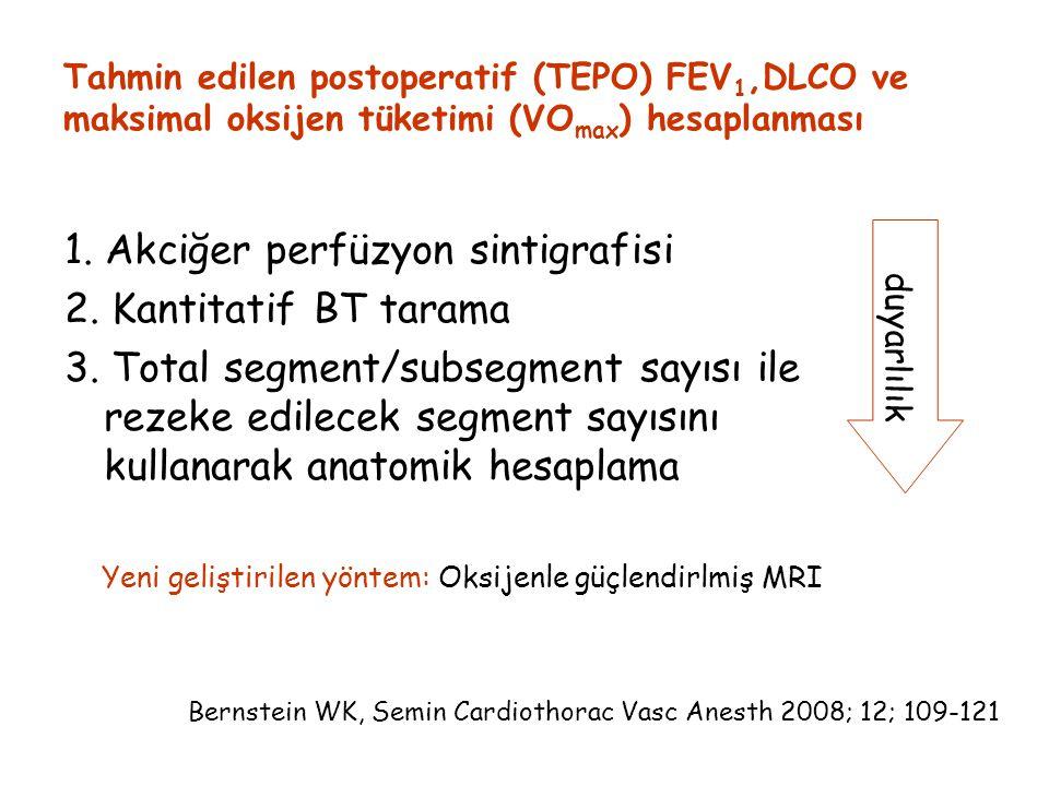 Tahmin edilen postoperatif (TEPO) FEV 1,DLCO ve maksimal oksijen tüketimi (VO max ) hesaplanması 1.