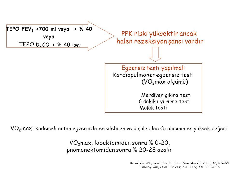 TEPO FEV 1 <700 ml veya < % 40 veya TEPO DLCO < % 40 ise; PPK riski yüksektir ancak halen rezeksiyon şansı vardır Egzersiz testi yapılmalı Kardiopulmoner egzersiz testi (VO 2 max ölçümü) Merdiven çıkma testi 6 dakika yürüme testi Mekik testi Bernstein WK, Semin Cardiothorac Vasc Anesth 2008; 12; 109-121 Tilburg PMB, et al.