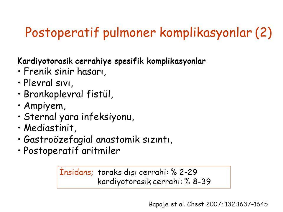 Kardiyotorasik cerrahiye spesifik komplikasyonlar Frenik sinir hasarı, Plevral sıvı, Bronkoplevral fistül, Ampiyem, Sternal yara infeksiyonu, Mediasti