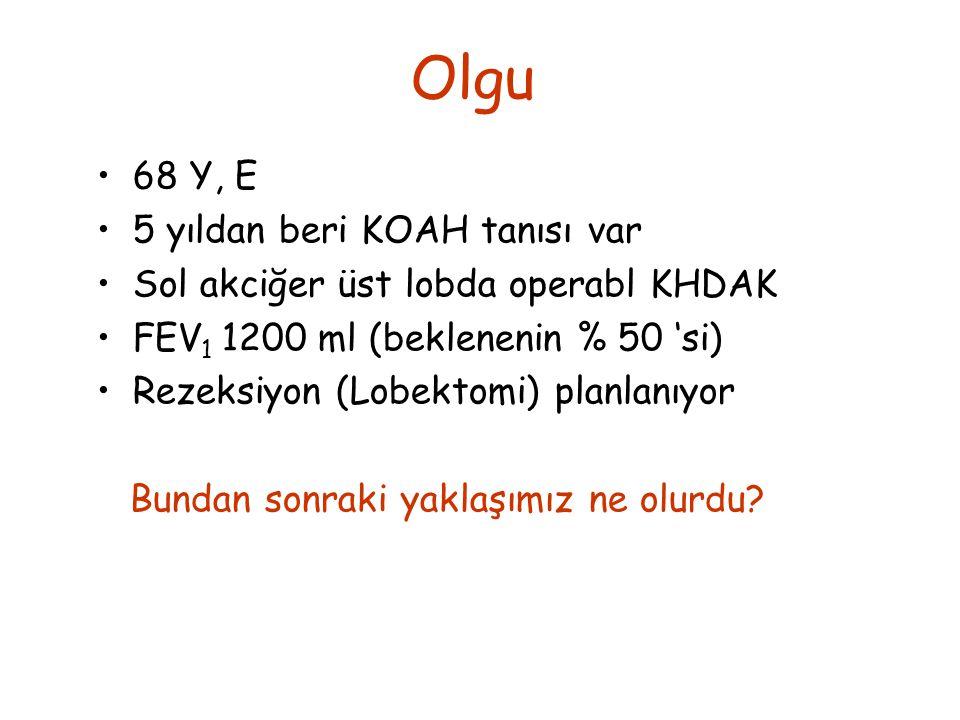 68 Y, E 5 yıldan beri KOAH tanısı var Sol akciğer üst lobda operabl KHDAK FEV 1 1200 ml (beklenenin % 50 'si) Rezeksiyon (Lobektomi) planlanıyor Bundan sonraki yaklaşımız ne olurdu.
