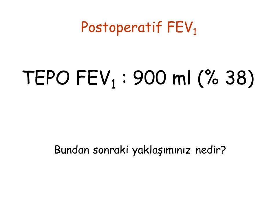 Postoperatif FEV 1 TEPO FEV 1 : 900 ml (% 38) Bundan sonraki yaklaşımınız nedir?