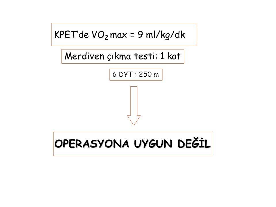 KPET'de VO 2 max = 9 ml/kg/dk OPERASYONA UYGUN DEĞİL OPERASYONA UYGUN DEĞİL Merdiven çıkma testi: 1 kat 6 DYT : 250 m