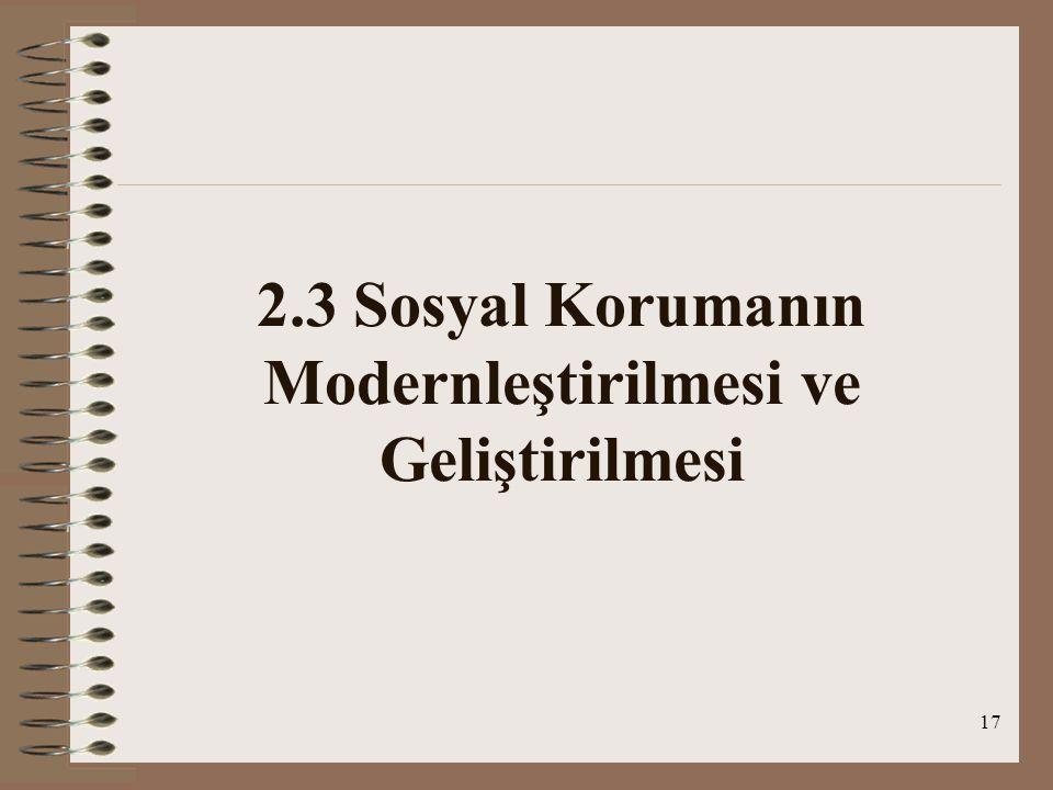 17 2.3 Sosyal Korumanın Modernleştirilmesi ve Geliştirilmesi