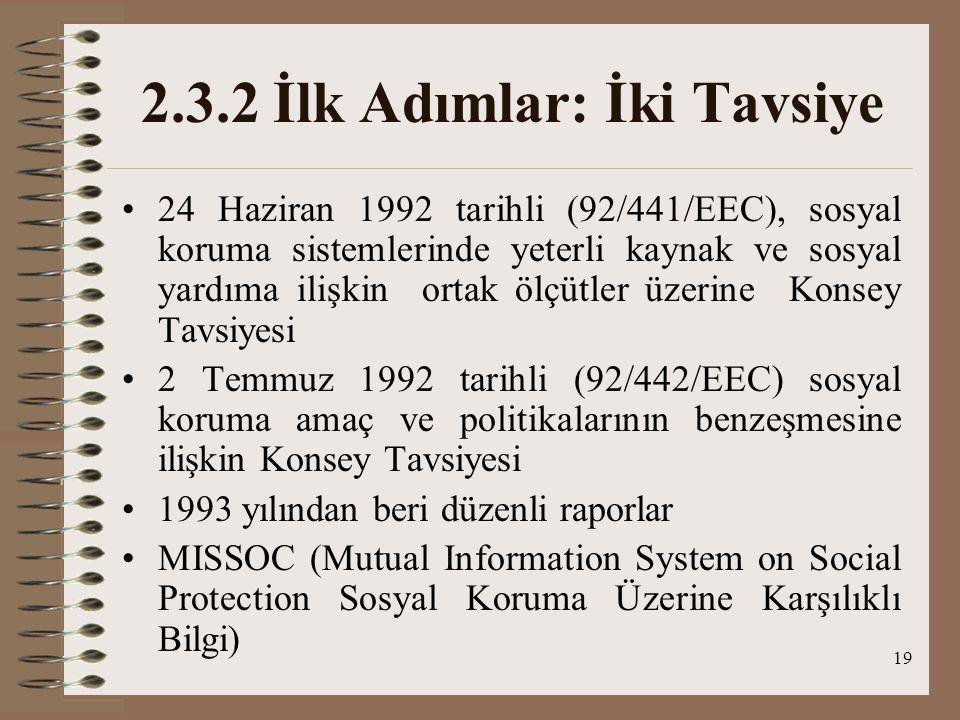 19 2.3.2 İlk Adımlar: İki Tavsiye 24 Haziran 1992 tarihli (92/441/EEC), sosyal koruma sistemlerinde yeterli kaynak ve sosyal yardıma ilişkin ortak ölç