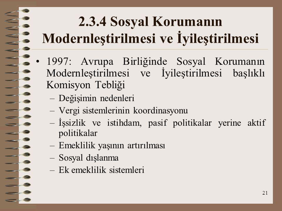 21 2.3.4 Sosyal Korumanın Modernleştirilmesi ve İyileştirilmesi 1997: Avrupa Birliğinde Sosyal Korumanın Modernleştirilmesi ve İyileştirilmesi başlıkl