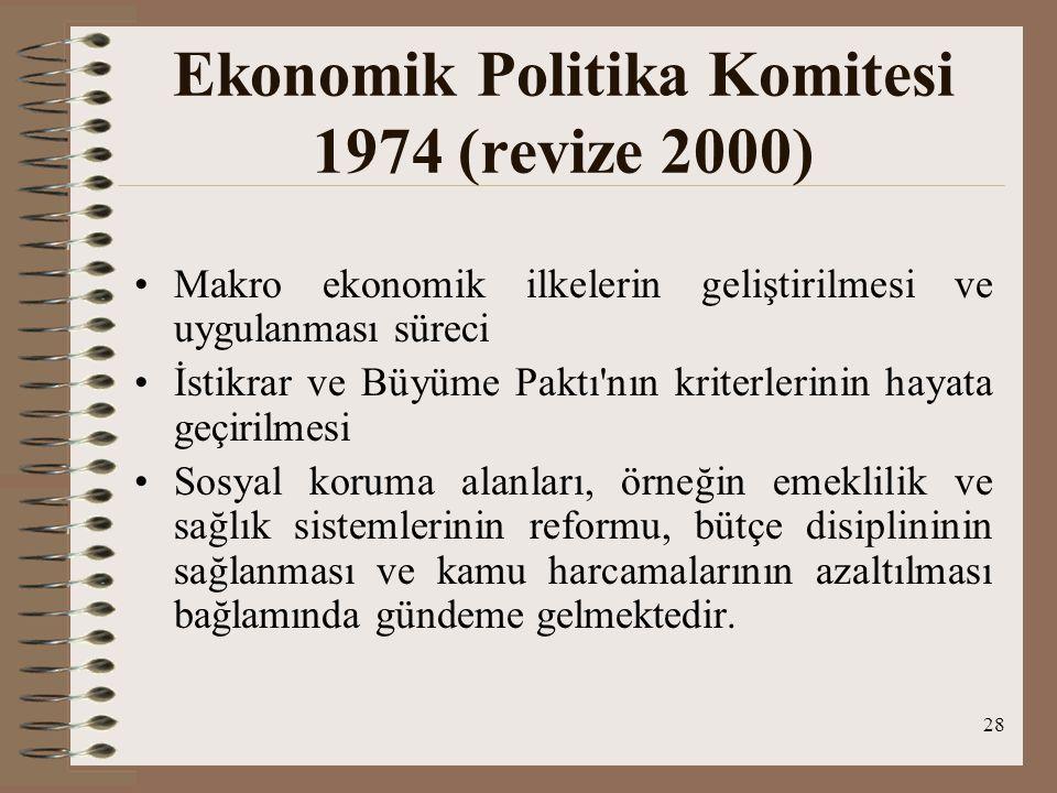 28 Ekonomik Politika Komitesi 1974 (revize 2000) Makro ekonomik ilkelerin geliştirilmesi ve uygulanması süreci İstikrar ve Büyüme Paktı'nın kriterleri